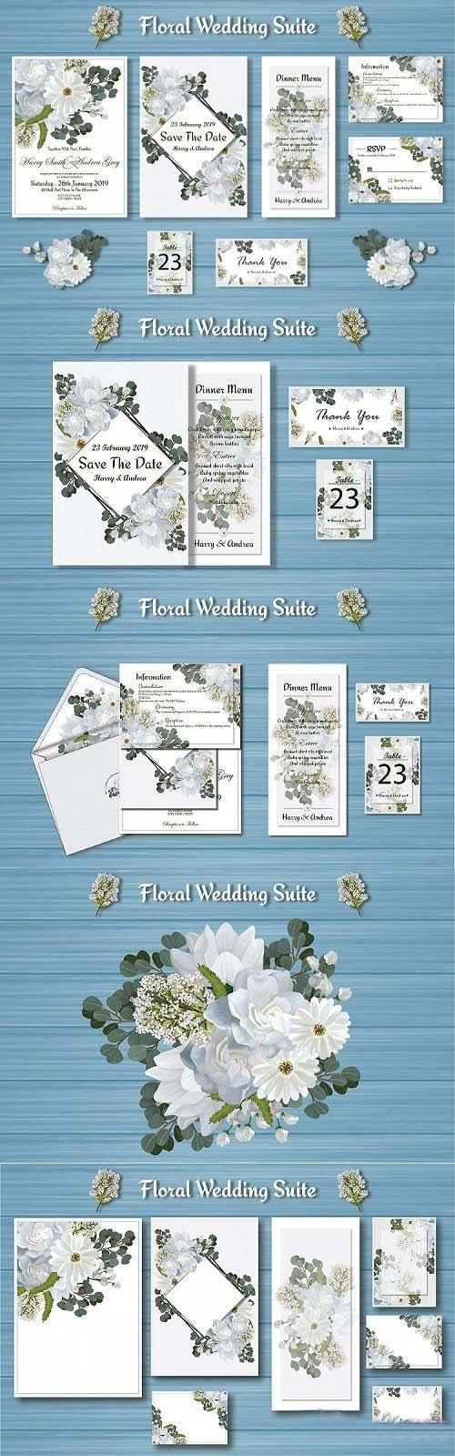 White Floral Wedding Invitation Suite - 185060