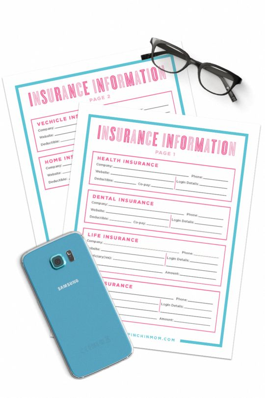 Insurance Information Form In 2020 With Images Health