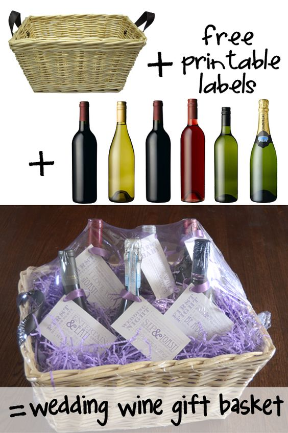 Wedding Gift Ideas Alcohol : Wedding Shower Wine Gift Basket: A different bottle of wine, each with ...