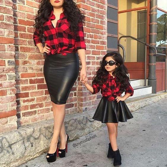 Mini and me plaid leather divas: