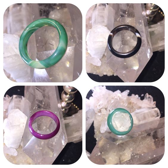 Check out our vast selection of unique natural Jade and Agate rings. We have many colors and sizes. All hand carved. All natural stone.