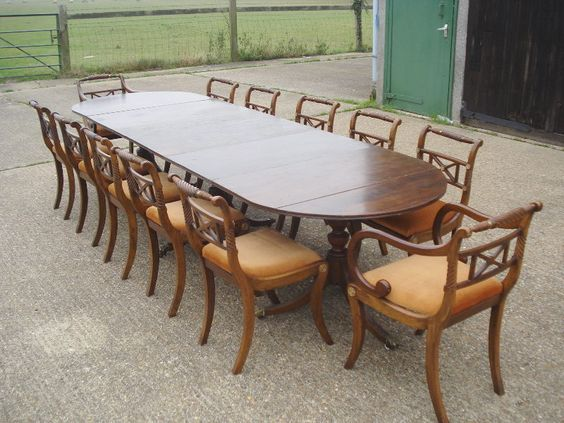 Triple pedestal dining table to seat 12 to 14 for 12 people dining table
