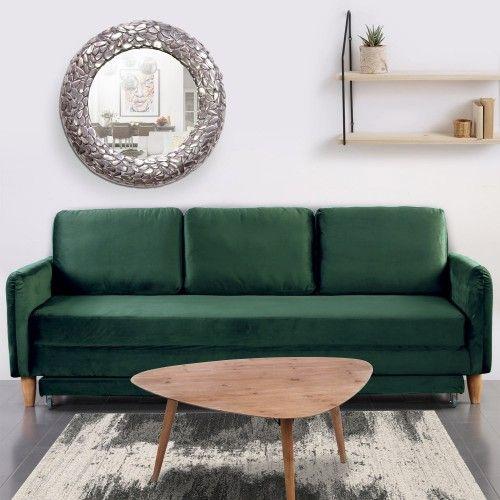 Canape 3 Places Convertible Flixo Velours Vert Canape Decoration Maison Canape Velours Vert