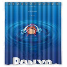 Hot Anime Ponyo monde sous - marin Design personnalisé imperméable rideau de douche salle de bains rideaux 36 x 72, 48 x 72, 60 x 72, 66 x 72 polegadas(China (Mainland))