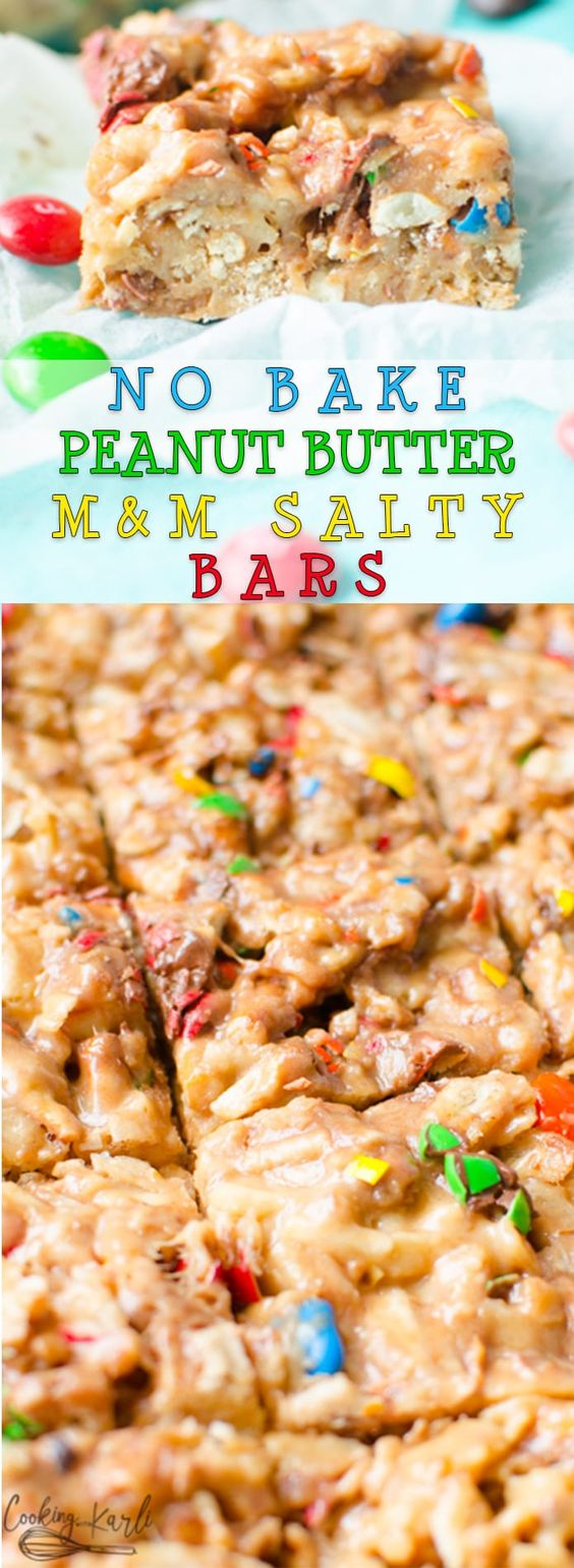No Bake Peanut Butter Salty Bars are the perfect salty and sweet treat. Potato chips, pretzels, marshmallows, M&M's,  are held together with a sweet, peanut butter coating. These are a salty play on Scotcharoos, the classic peanut butter, chocolate and butterscotch rice Krispy treat. |Cooking with Karli| #nobake #peanutbutter #bars #salty #sweet #dessert #m&m #recipe