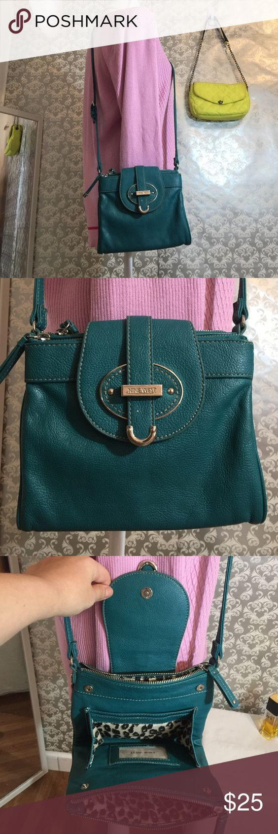 Nine West aqua messenger bag 7 inches in length 8 inches in width has six compartments adjustable straps leopard lining Nine West Bags