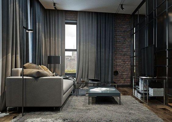 Wohnzimmer Wohnideen - graue Vorhänge und Regalsystem Ideen rund - gardinen dekorationsvorschläge wohnzimmer