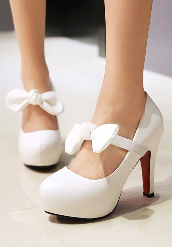 White Round Toe Bow Fashion High Heeled Shoes   Fashion high