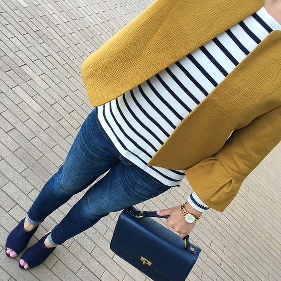 skinny ankle jeans, Lantern sleeve jacket, Steve Madden Claara Block Heel Sandals, striped long sleeve tee