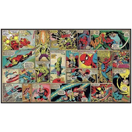 York Wallcoverings JL1290M RoomMates Marvel Classics Comic Panel Mural 6' x 10.5