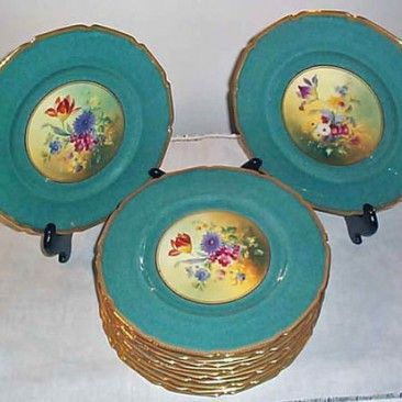 """12 Royal Doulton aqua flowered plates, signed E.W. Percy, each painted differently, ca-1927, 10 1/2"""", $2400.00"""