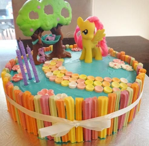 My Little Pony Party Cake - cake decorated in fruit sticks, fruit tingles and flowers - perfect for your little girls next birthday party.