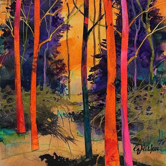 Forest Wonders 4 13050 by Carol Nelson mixed media ~ 6 x 6