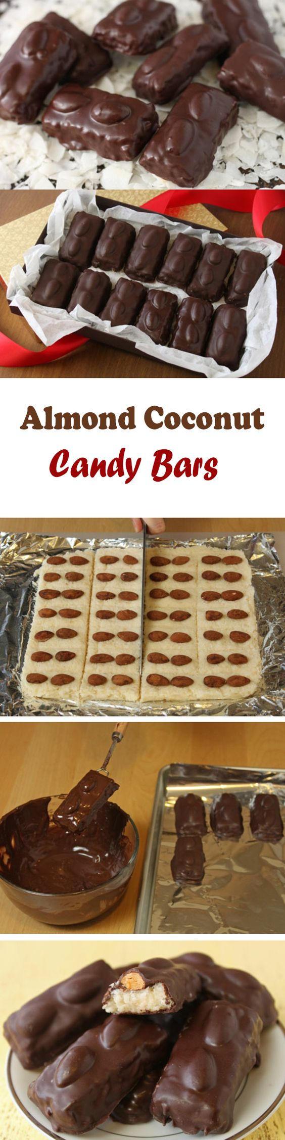 These homemade candy bars, filled with a soft and chewy coconut filling and crunchy toasted almonds, are a delight. You might even say they are a joy. An almond