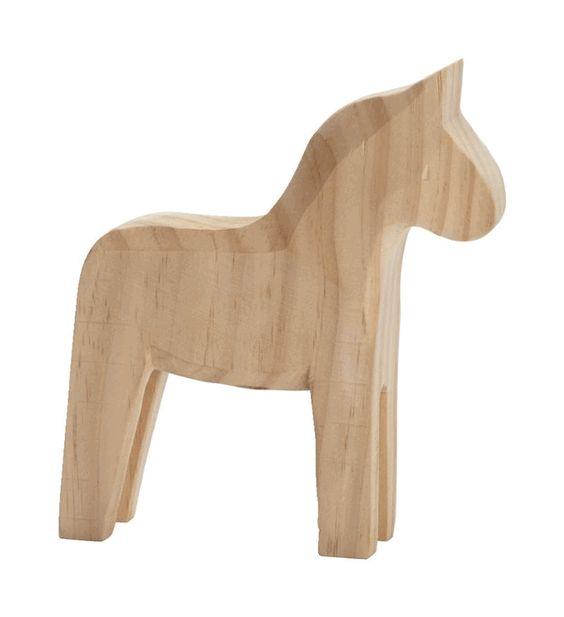 Modern Swedish Dala Horse by Serholt - Natural Unpainted