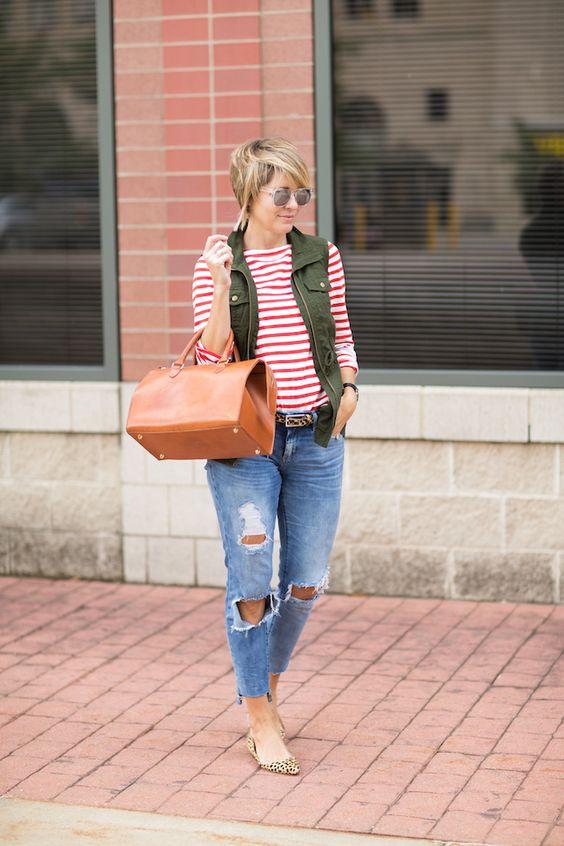 Stripe tee & utility vest