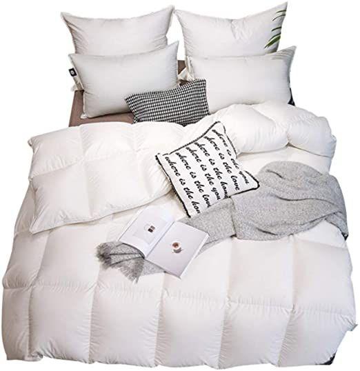 Nantong Luxury All Season Goose Down Comforter Full Queen Size Duvet Insert 100 Natural Cotton Hypoallergenic Medium Queen Size Duvet Down Comforter Duvet