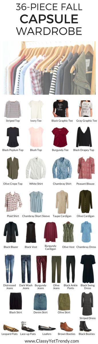 My Capsule Wardrobe: Fall 2016 - chambray shirt, peasant top, denim skirt, olive skirt, black skirt, striped top, burgundy tee, utility vest, black blazer, sleeveless vest, plaid shirt, cardigan, white shirt, ankle boots, booties, leopard flats, lace-up flats