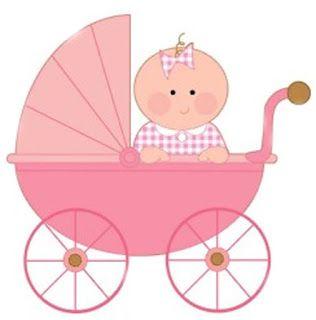 Chá de Bebê Menina no Carrinho – Kit Completo com molduras para