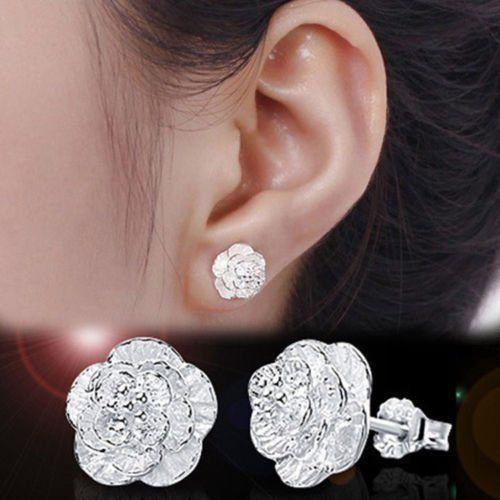 Amazon.com: Fashion Women Silver Cherry Flower Ear Stud Earrings Jewelry New: Home & Kitchen: