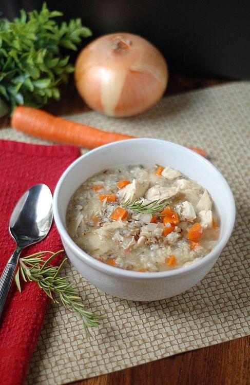 carrot, onion, potato, thyme and turkey soup
