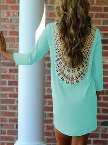 Neon Blue Lace Crochet Shift Dress -SheIn(Sheinside)