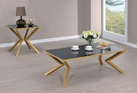 3pc Black And Gold Coffee Table Set In 2019 Dining