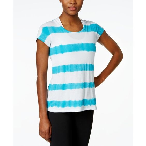 Calvin Klein Performance Printed T-Shirt ($30) ❤ liked on Polyvore featuring tops, t-shirts, blue sea combo, striped tee, tiedye t shirts, calvin klein t shirt, tye die t shirts and tie-dye tops