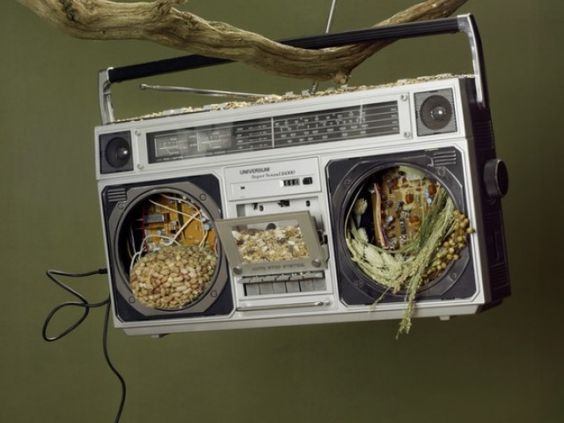 It's like a retro boombox just blew through a tornado and ended up as your awesome bird feeder!