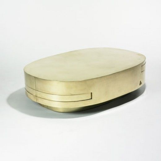 Gabriella Crespi Brass Extendable Coffee Table C1970 Metal Pinterest Auction