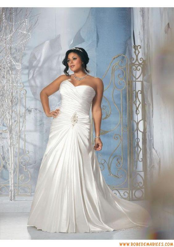 Robe de mariée grande taille simple satin perles