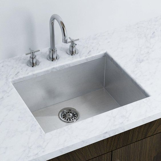 A single bowl stainless steel under mount kitchen sink in - Square stainless steel bathroom sink ...