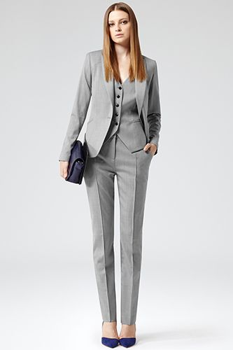 19 Gorg Suits To Class Up Your 9-To-5 #refinery29Reiss Tomley Arc Tailored Jacket, $425, available at Reiss; Reiss Deuce Arc Tailored Waistcoat, $210, available at Reiss; Reiss Nell Arc Tailored Trousers, $230, available at Reiss.