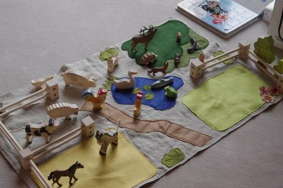 Play Mat from Felt to go with a Farm - Handcrafted mat to go with a child's farm toy.