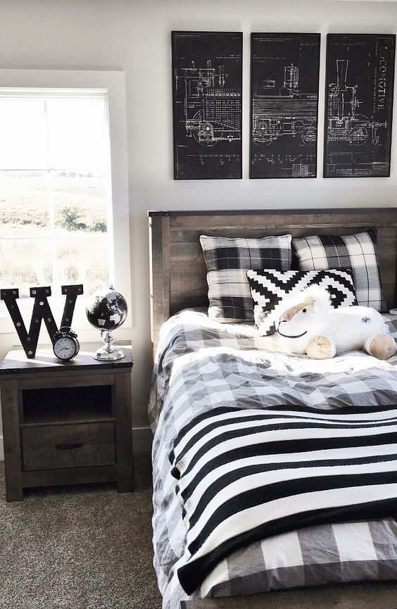 Boy bedroom. Boy bedroom ideas. Transitional boy bedroom decor. Bedroom Furniture Set: Slumberland. Train Wall Art: World Market. #boybedroom #boybedroomdecor #boybedroomideas #transitionalboybedroom Beautiful Homes of Instagram @nc_homedesign via Home Bunch: