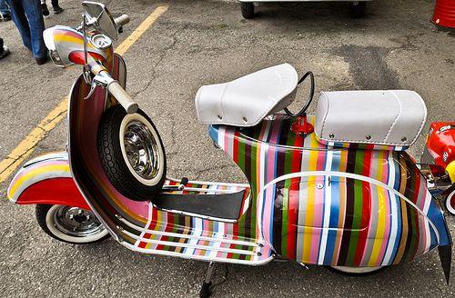 Multi Coloured Striped Vespa.