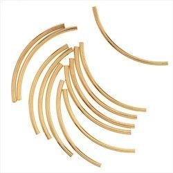 Gold tube beads