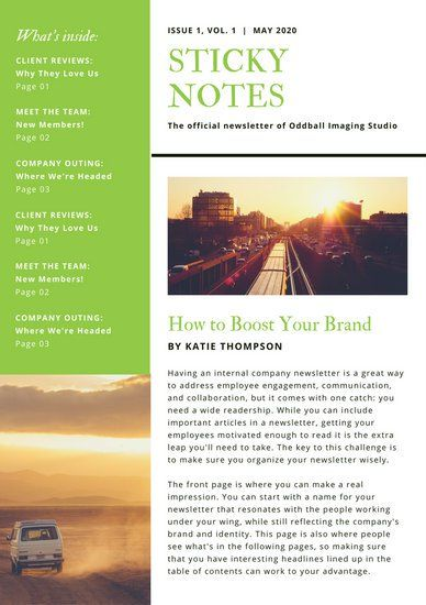 Green And White Employee Newsletter Newsletter Layout