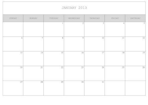2013 Calendar to Print - simple/plain version Planner Pinterest