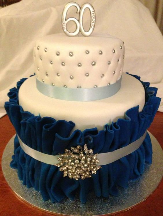 60th Birthday Blue White And Bling Ally Cakes