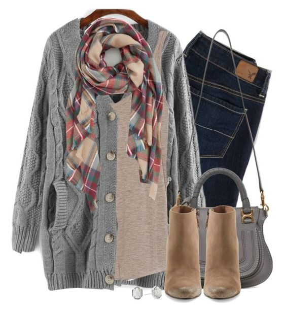 """Gray cable knit, wedge boots & plaid scarf"" by steffiestaffie ❤ liked on Polyvore featuring American Eagle Outfitters, Zara, Sole Society, Chloé, Dolce Vita and Kendra Scott"
