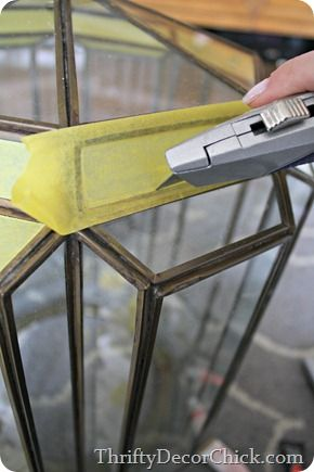How to easily tape off glass on light fixtures #DIY