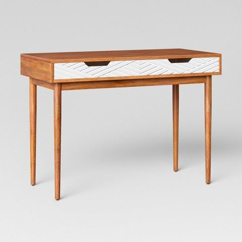 Touraco Wood Writing Desk With Carved Drawers Brown Opalhouse