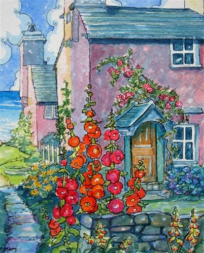 """Pretty in Pink by the Sea Storybook Cottage Series"" - Original Fine Art for Sale - � Alida Akers"