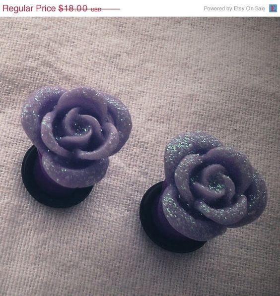 Memorial Day 0g 8mm Lilac Purple Glitter Rose Plugs by Glamsquared