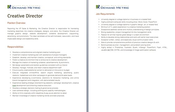 Creative Director Job Description - A template to quickly document - job description template