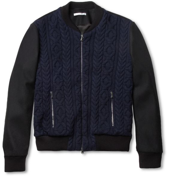 Carven Cable-Knit Wool Bomber Jacket | MR PORTER