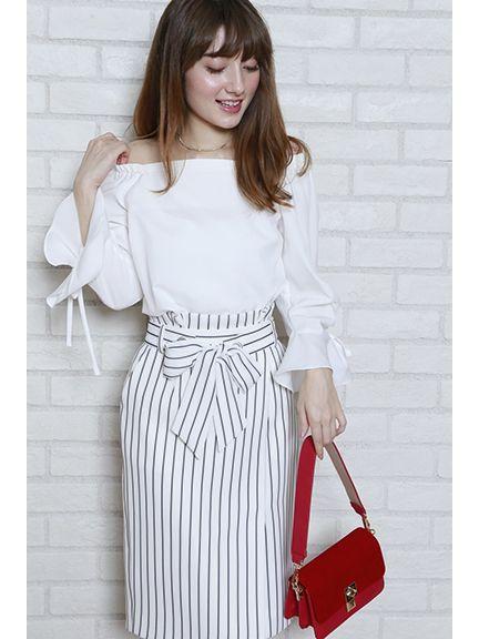 ラップ風ストライプタイトスカート(白)