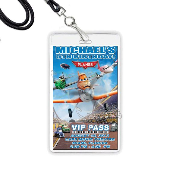 Planes Disney Movie PERSONALIZED VIP Pass or Invitation LANYARD NECKLACES - 5pcs