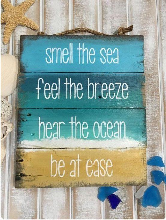 Diy Ocean Sign Be At Ease Baños De Playa Madera De
